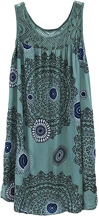 Womens Shift Dress Fashion Round Neck Lace Patchwork Print Sleeveless Dress Casual Loose Tunic Tank Dress Army Green