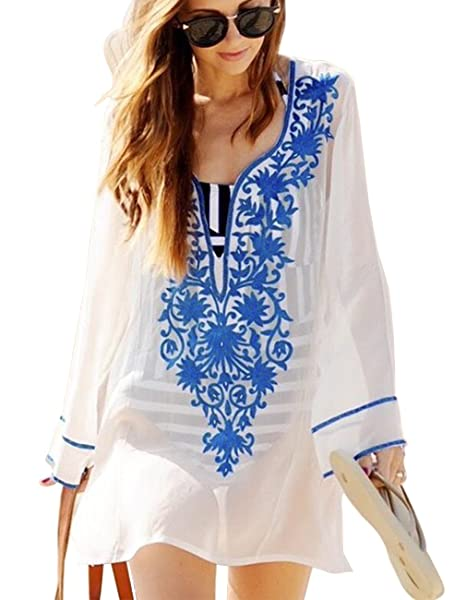 d6a4e661c78 Sanifer Women s Long Sleeve Beach Cover Up Dress Embroidered Bohemian  Beachwear Bathing Suits Cover Ups One Size Top-Blue  Amazon.in  Clothing    Accessories