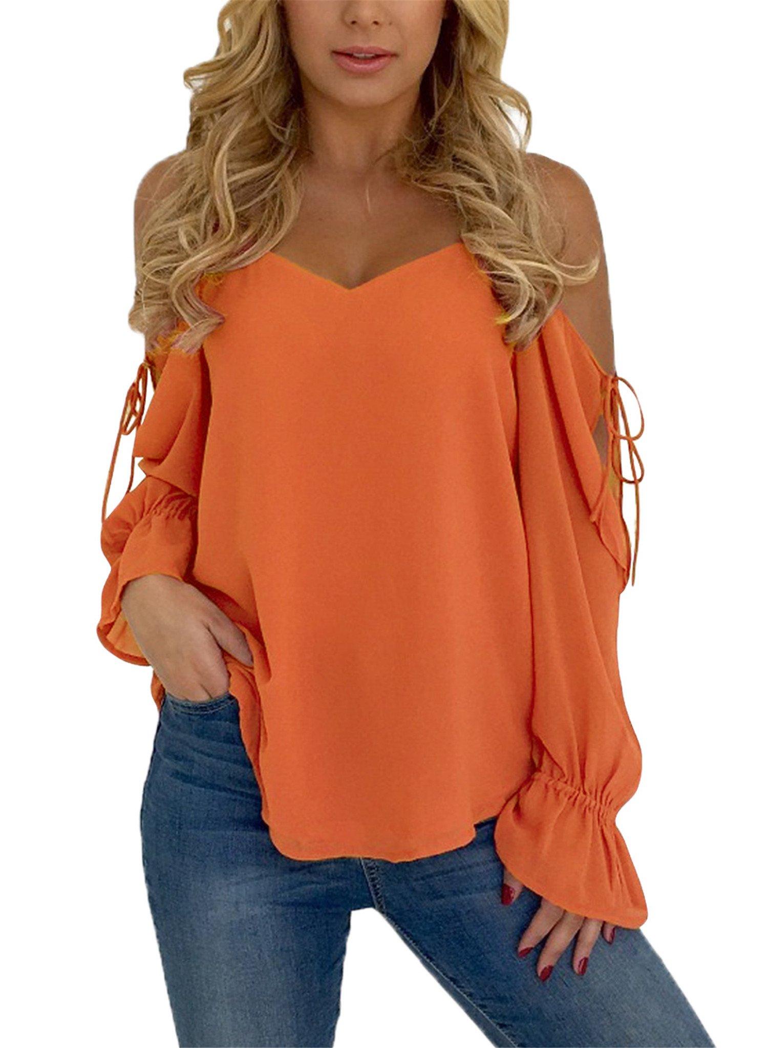 Blibea Womens Spaghetti Strap Loose T Shirts Off Shoulder Blouse Long Flared Ruffled Sleeve Shirts Elegant Tee Tops Medium Orange by Blibea (Image #1)
