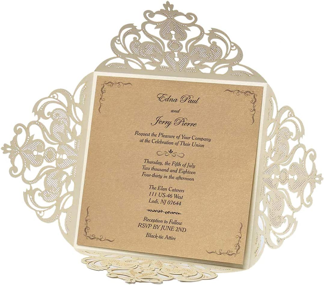 WISHMADE Square Laser Cut Wedding Invitations Cards for Birthday Party Favors Ivory, 20 Pieces