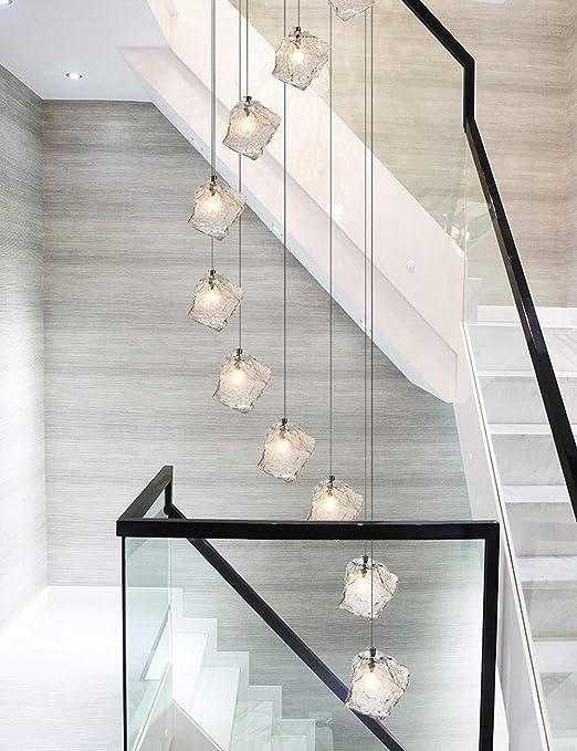 35x200cm Escalera minimalista moderna Araña larga Cristal de villa Forma de lámpara de hielo Araña de