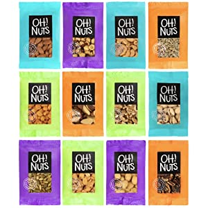 Oh Nuts 12 Individual Nuts & Seed Healthy Snacks Variety Pack - All Natural Grab N Go Keto Snack Bar Packs for Trail, Office, Travel, College Dorm, Kid, Adult Vegan Low Carb Plant-Based Single Serve