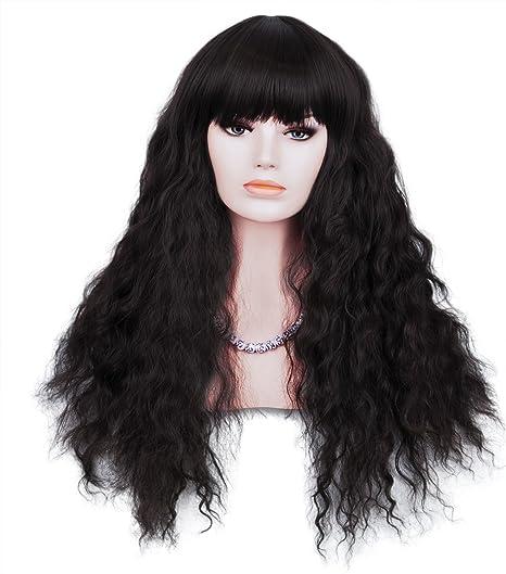 Peluca larga marrón rizada para mujer, alta calidad, incluye ...