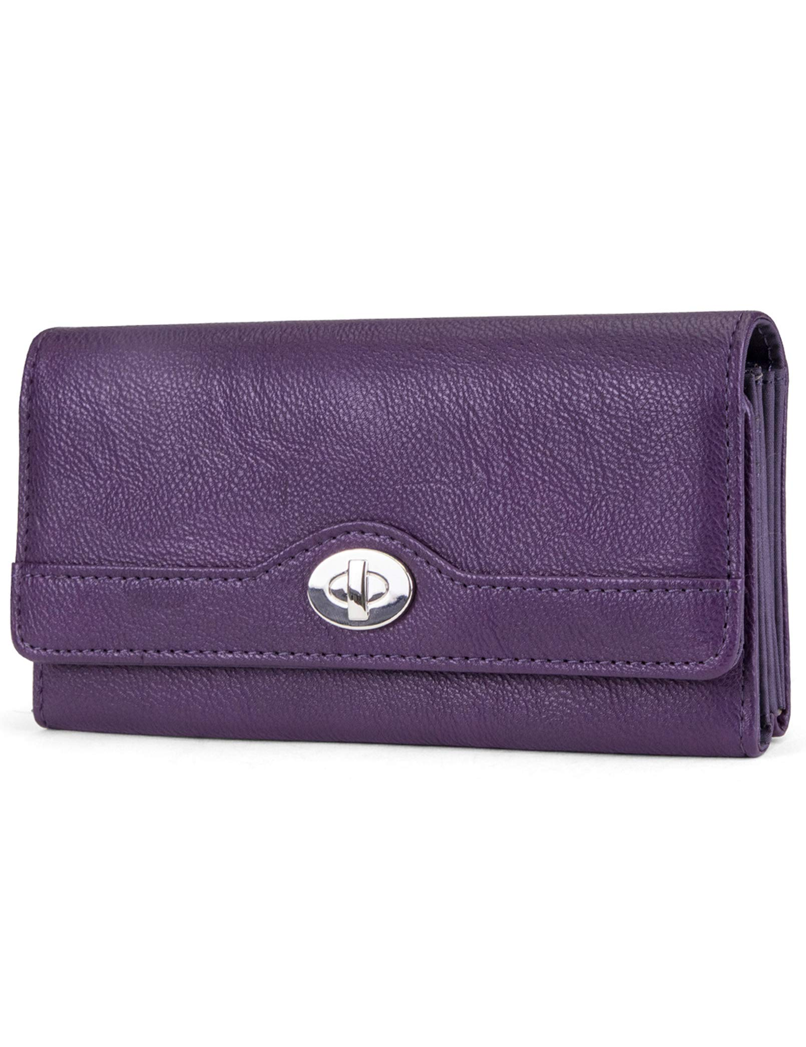 Mundi File Master Womens RFID Blocking Wallet Clutch Organizer With Change Pocket (One Size, (Purple))