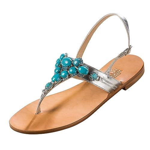 Trotta-Amendola - Sandalias de vestir de Piel para mujer plateado plata 40 fdf326a608c0