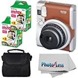 Fujifilm INSTAX Mini 90 Neo Classic Instant Camera (Brown) With 2x Fujifilm Instax Mini 20 Pack Instant Film (40 Shots…