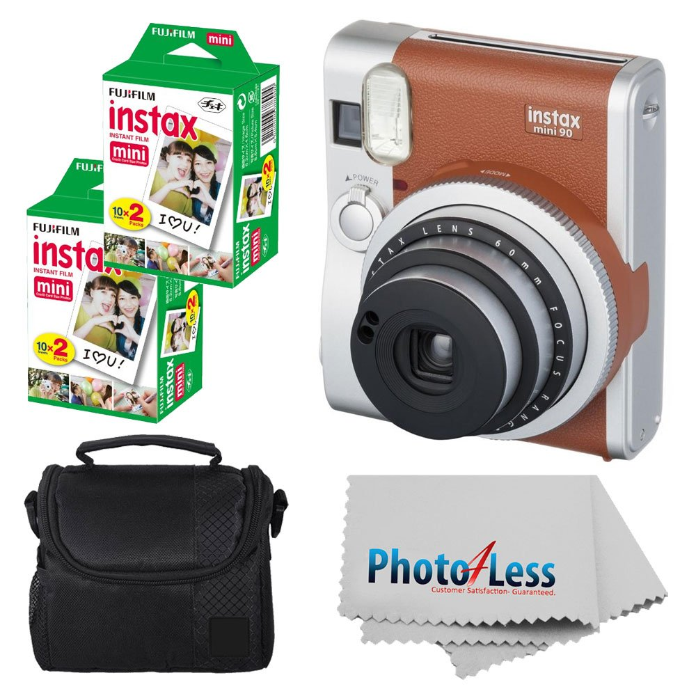 Fujifilm INSTAX Mini 90 Neo Classic Instant Camera (Brown) With 2x Fujifilm Instax Mini 20 Pack Instant Film (40 Shots) + Compact Camera Case + Cleaning Cloth - Instant Camera Bundle by Fujifilm