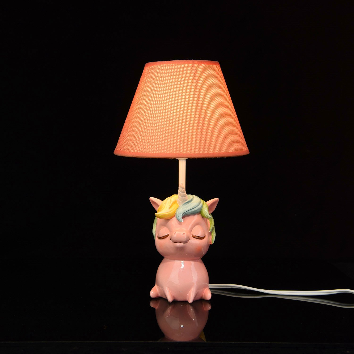 Amazlab 43237-2 Unicorn Table Lamps with Pink Shade Cute Bedroom, Bedside Kids Room Decoration, Gifts for Boys Or Girls Stick UL Listed, 13.57.77.7 inch