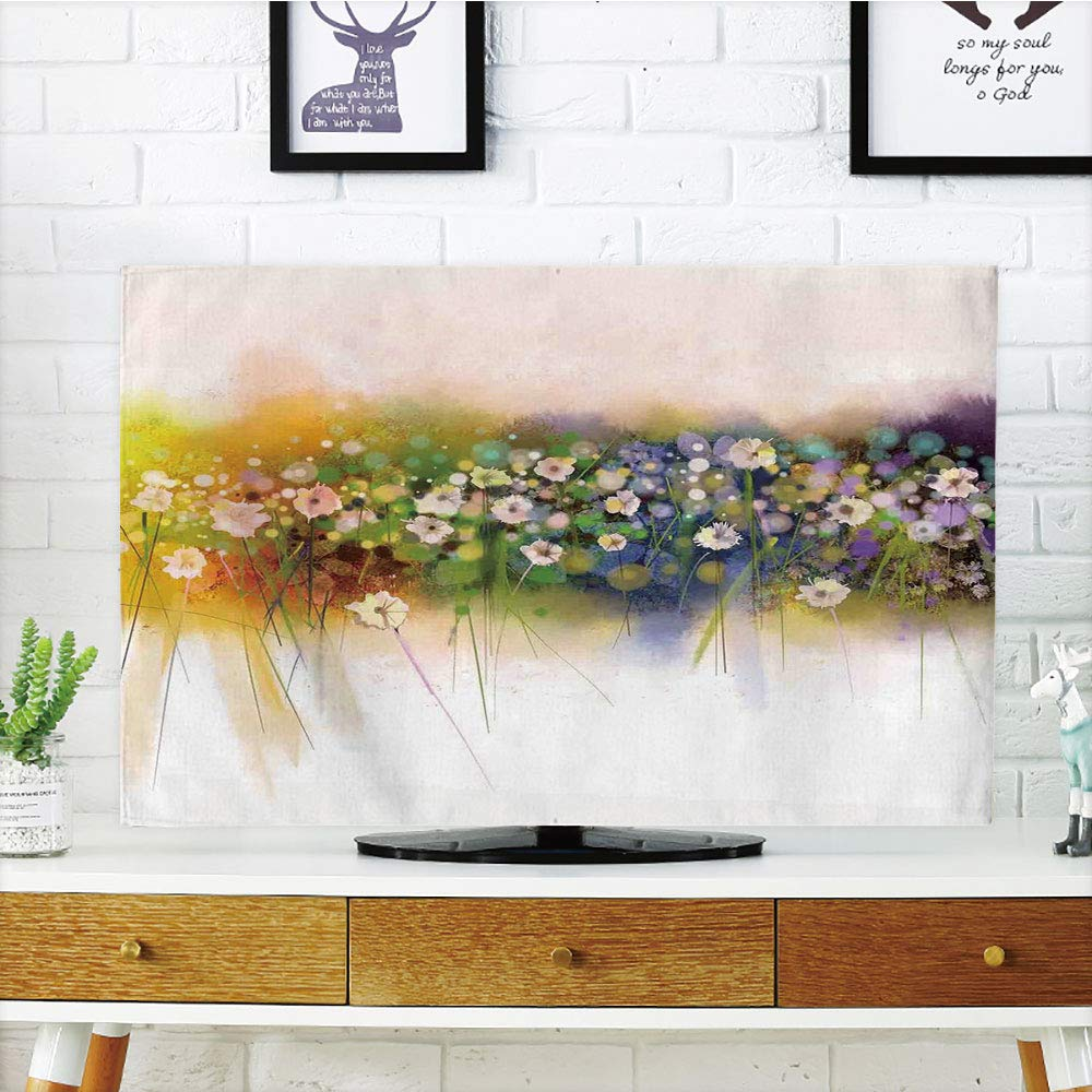 iPrint LCD TV Cover Multi Style,Watercolor Flower Home Decor,Vogue Display Wisteria Violets Wreath Fragrant Plants Herbs Artsy,Multi,Customizable Design Compatible 42'' TV