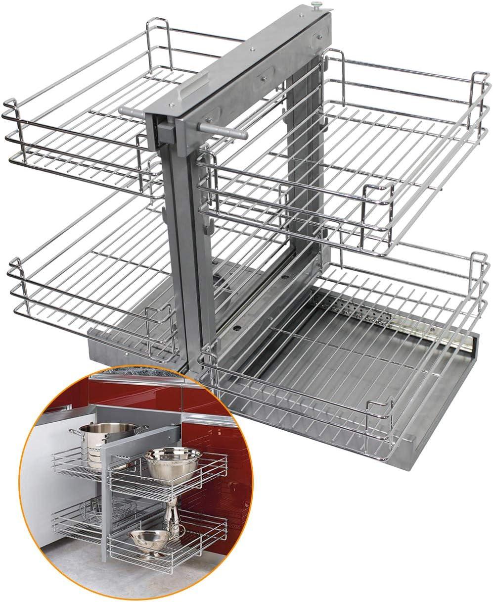 84,6x21,3x8,3 pulgadas Organizador de cesta de alambre cromado de 4 niveles para armario, estantes de platos, cuencos, utensilios de cocina, juego completo de extracción, parte inferior gris: Amazon.es: Hogar