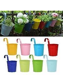 Hanging planters amazon flower pots riogoo hanging flower pots garden pots balcony planters metal bucket flower holders workwithnaturefo