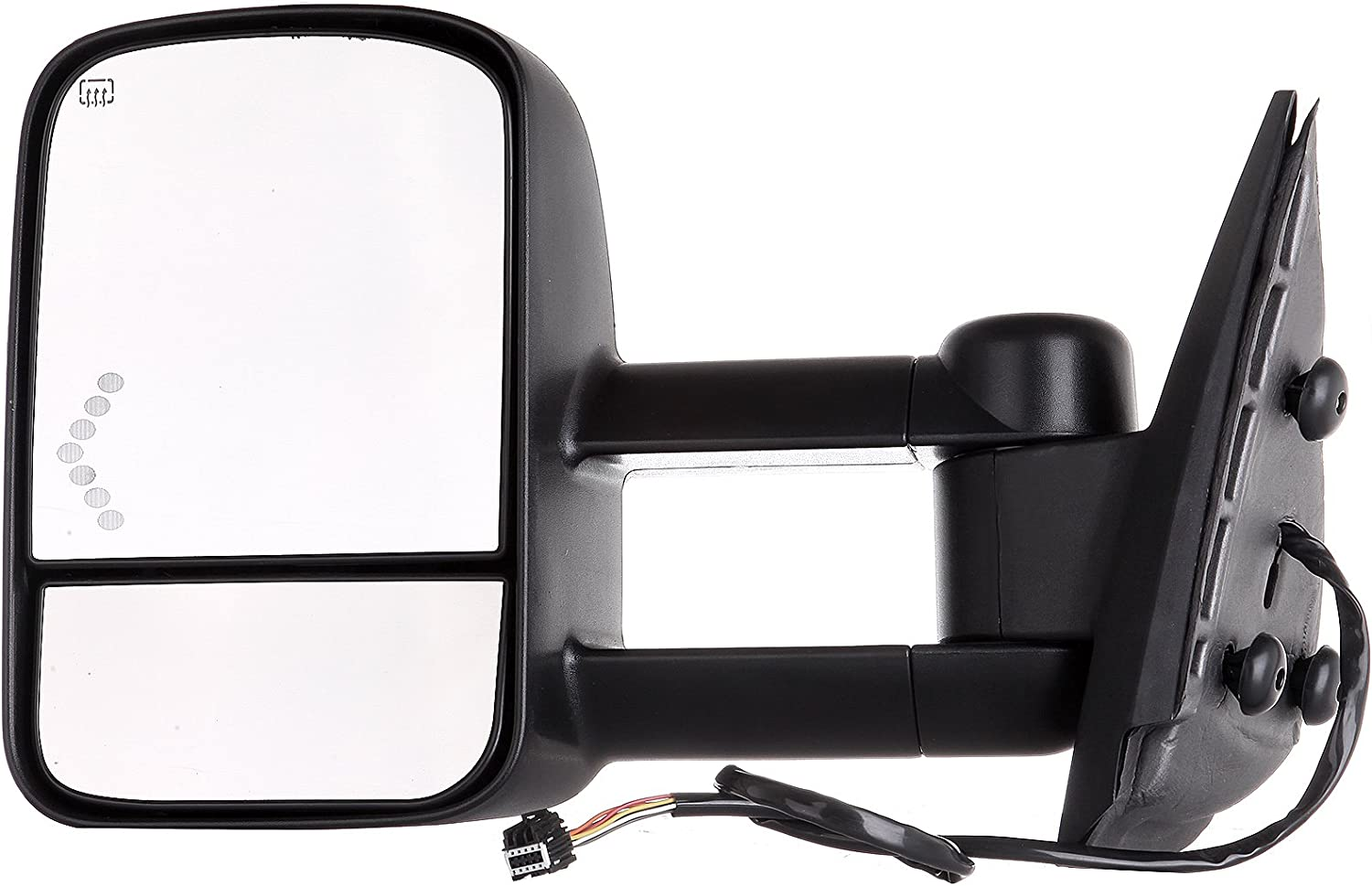 Towing Mirrors for 2007-2013 Chevy//GMC Silverado//Sierra Power Heated Telescoping Tow Mirrors with LED Signal Light Side Manual Mirrors Pair Set