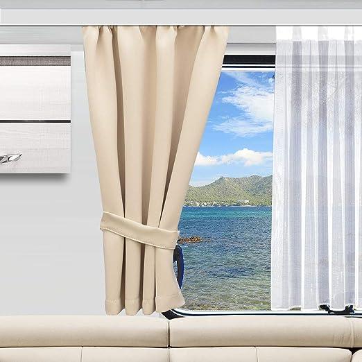 SeGaTeX home fashion Wohnmobil Caravan-Vorhang Mattis Hellbeige Verdunklungsdeko Wohnwagengardine mit Reihband H/öhe /& Breite nach Ma/ß