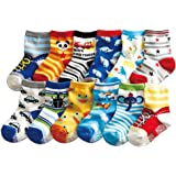 12 Pairs Baby Boy Socks with Grips 12-24 Months Toddler Infant Ankle Rubber Shoe Walker Non Slip Skid Socks