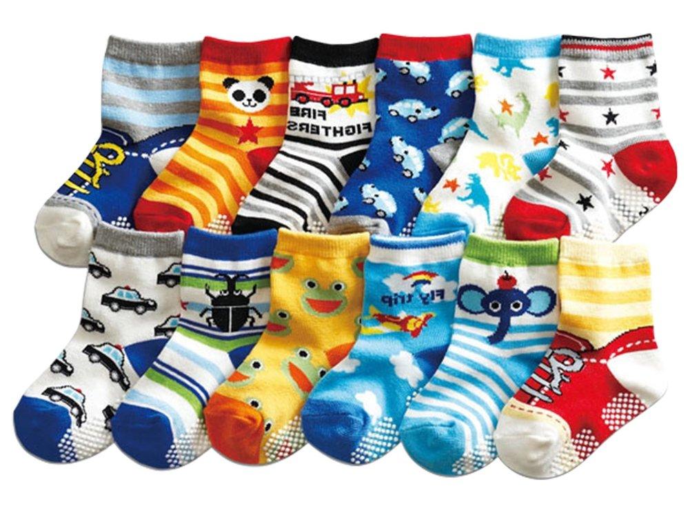 SuPoo 12 Pairs Baby Socks Non Skid Baby Cotton Socks Grip Socks Soft Anti-Slip Socks Baby Toddlers