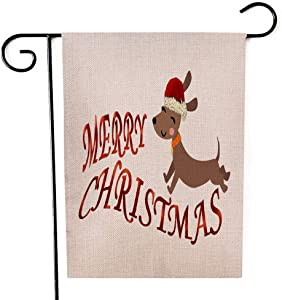 Capsceoll Merry Christmas Garden Flag Outdoor 12.5x18 Inch Double Sided Happy Dachshund Phrase Perfect Scrapbooking Kids Stationary Decorative Yard Flag for Christmas Seasonal Garden Flags
