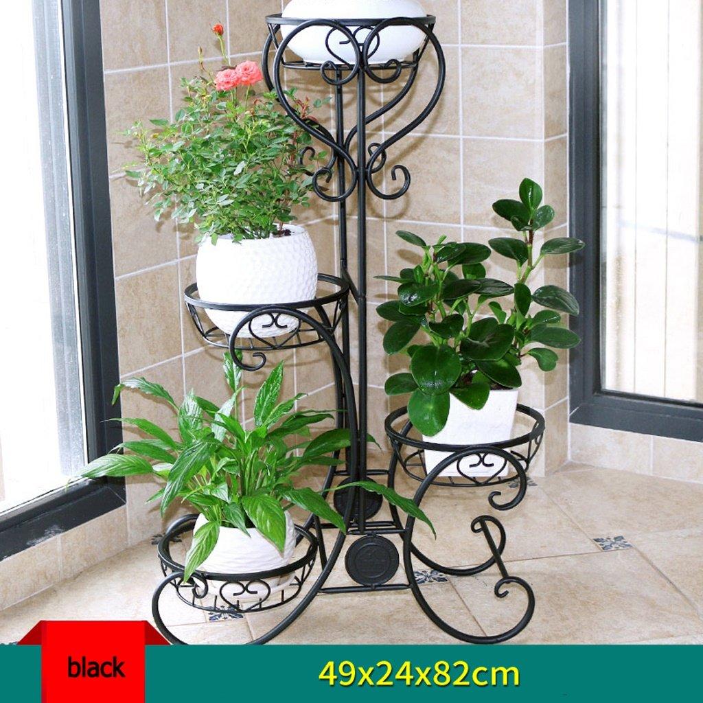 ALUS- Flower Stand Balcony Living Room Iron Multilayer Ground Potted Racks Indoor Plant Shelves Flower Shelf ( Color : Black )