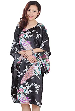 JTC Chinese Silk Peacock Ladies Lingerie Robe Dressing Gown Nightwear  Womens Clothing Sleepwear Nightdress (Black)  Amazon.co.uk  Clothing 1c1bf61fc