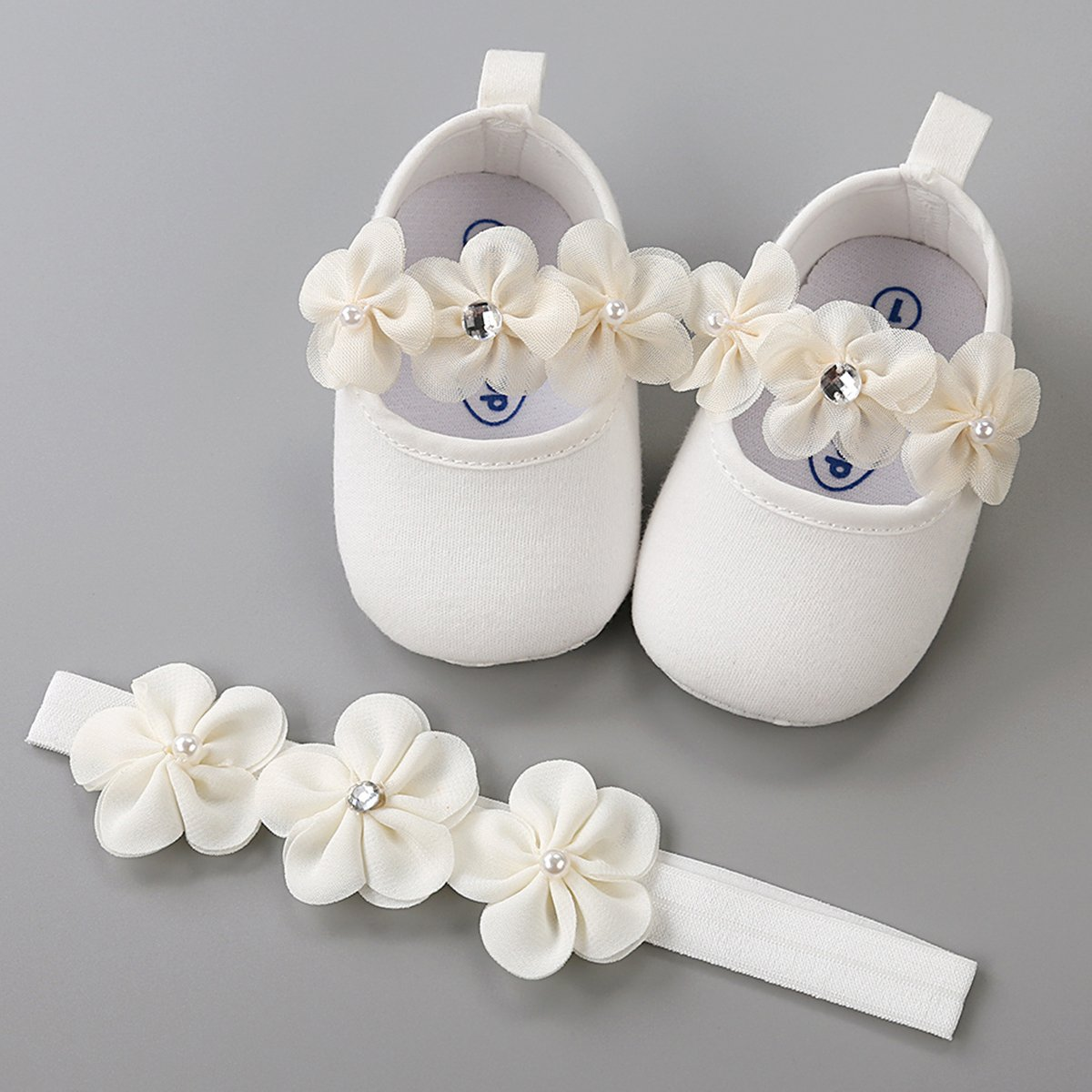 LIVEBOX Baby Infant Girls Shoes, Soft Sole Prewalker Mary Jane Princess Dress Crib Shoes with Free Baby Headband for Attend Wedding Birthday Party Events (White, S) by LIVEBOX (Image #2)