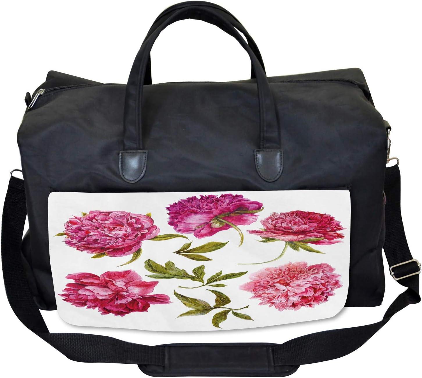 Ambesonne Floral Gym Bag Large Weekender Carry-on Spring Buds Vivid Tones