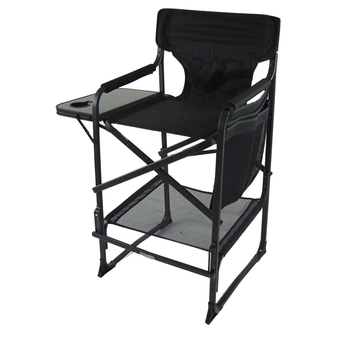 World Outdoor Products XL Tall Directors Chair with Adjustable, Automatic Footrest, Removable Back and a XL Side Table with Cup Holder, Dual-Pocket Side Bag and Storage Net.
