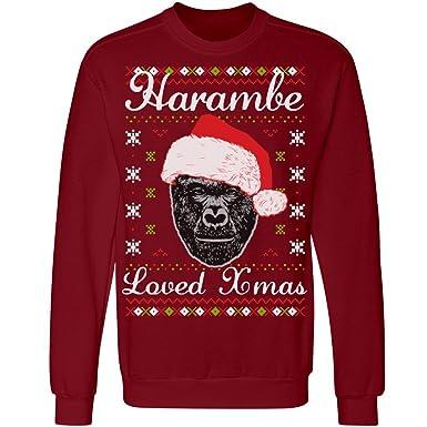 harambe loved christmas ugly unisex anvil crewneck sweatshirt