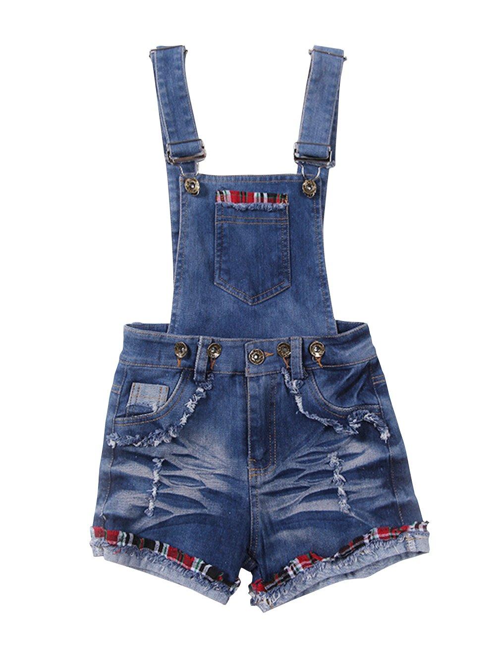 YJ.GWL Little Girls Clothes Denim Overalls Summer Jeans Shorts(Blue,120)