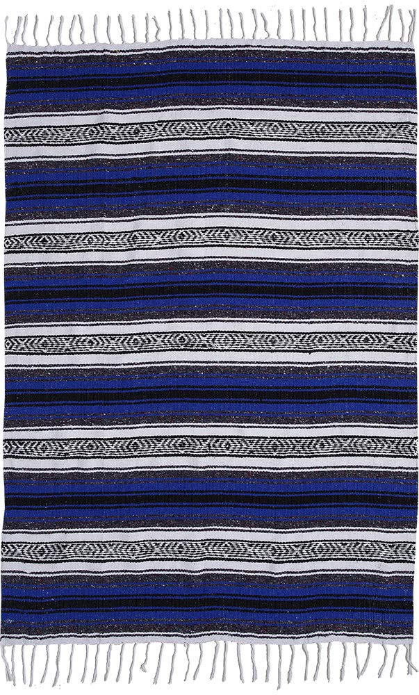 El Paso Designs Genuine Mexican Falsa Blanket - Yoga Studio Blanket, Colorful, Soft Woven Serape Imported from Mexico (Blue) by El Paso Designs (Image #5)