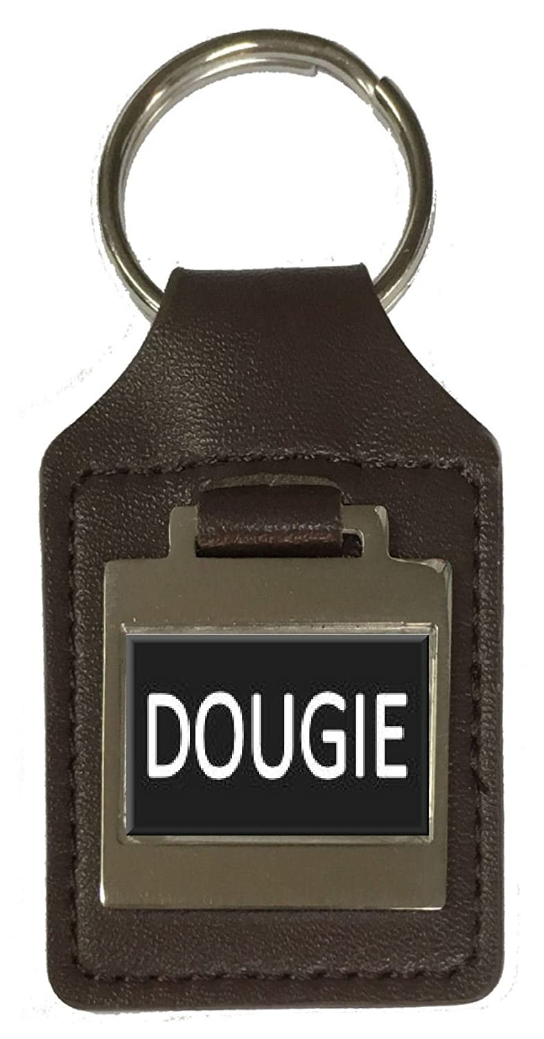 Leather Keyring Birthday Name Optional Engraving Dougie