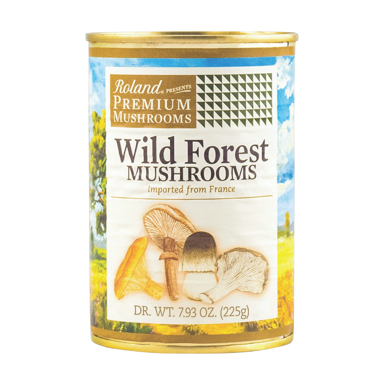 Roland Foods Premium Canned Wild Forest Mushrooms, Specialty Imported Food, 7.93-Ounce Can-4 pack