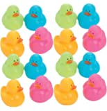 Kicko Mini Colorful Rubber Duckies 1.25 Inches - Pack of 16 - Assorted Colors Cool and Cute Rubber Ducks - for Kids Party Favors, Bag Stuffers, Fun, Toy, Prize