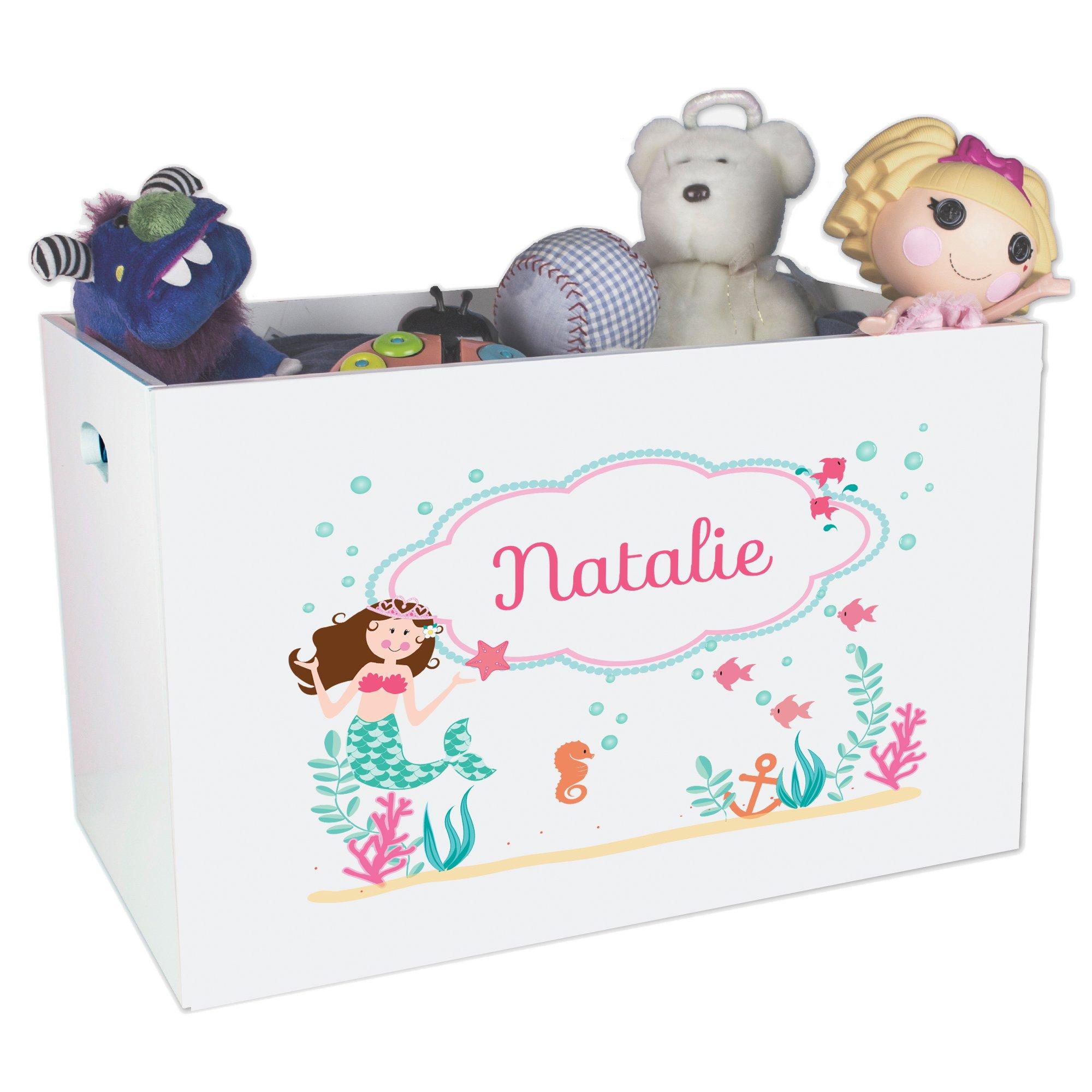 Personalized Mermaid Nursery White Open Toy Box