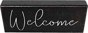PrideCreation Welcome Wooden Sign, 12x5 inch Rustic Farmhouse Box Signs, Carved Wooden Tabletop Block Desk Signs Gift for Home Mantel Shelves Living Dining Room Bedroom Kitchen Decor - Black