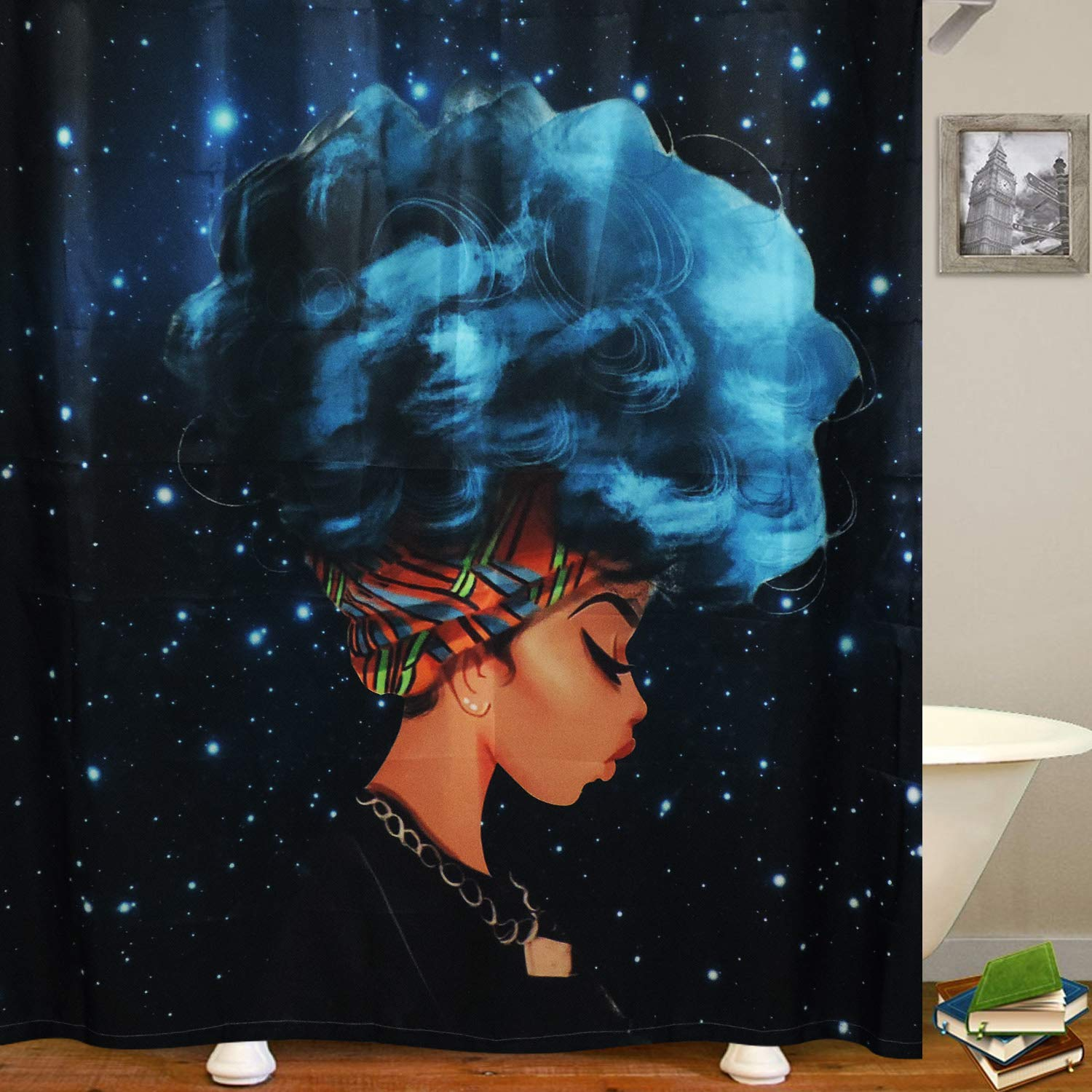 BLEUM CADE Sunfreem African Girl Bathroom Shower Curtain Watercolor Afro Hair Girl Lady Bathroom Curtain Durable Bath Curtain Bathroom Accessories Ideas Kitchen Window Curtain