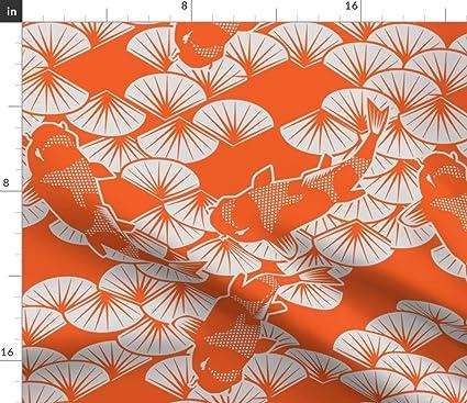 Wondrous Amazon Com Orange Koi Fabric Summer Modern Home Decor Koi Interior Design Ideas Inamawefileorg