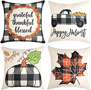 Thanksgiving Pillow Covers 18x18 Inch for Thanksgiving Decorations Black and White Buffalo Check Plaid Grateful Thankful Blessd Farmhouse Decorative Throw Pillow Covers for Sofa Couch Decor