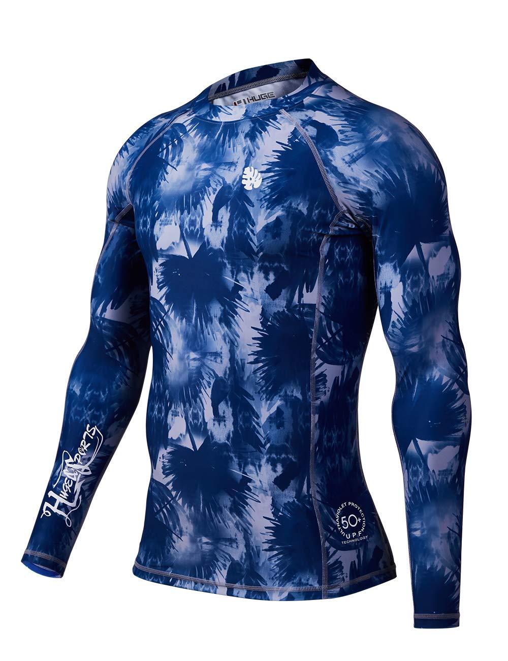 HUGE SPORTS Men's Splice UV Sun Protection UPF 50+ Skins Rash Guard Long Sleeves ...