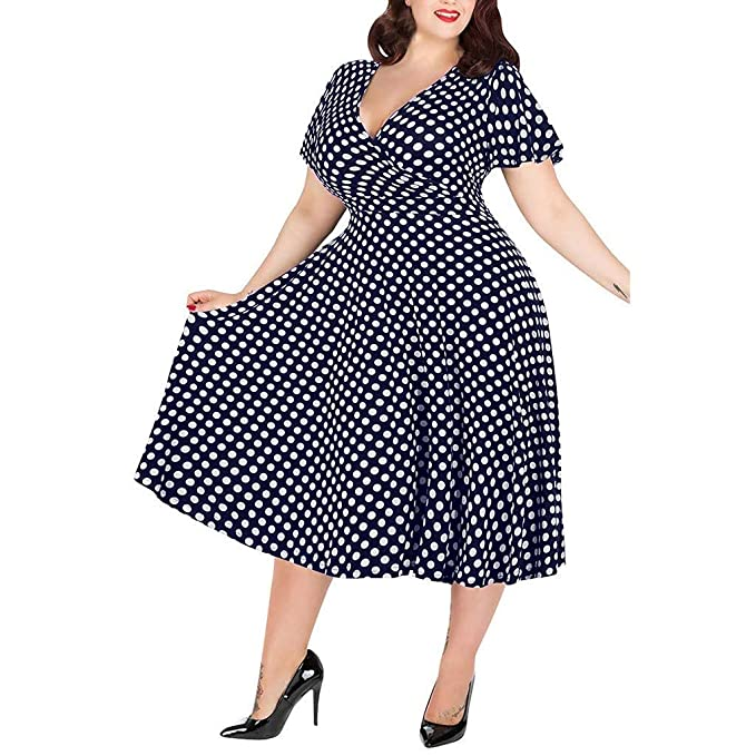 Amazon.com: TRENDINAO Polka Dots Plus Size Dress,Womens ...