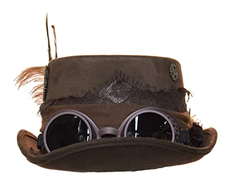 2c0817ce75 Amazon.com  Women s Steampunk Top Hat with Feathers and Removable Goggles ( Black)  Clothing