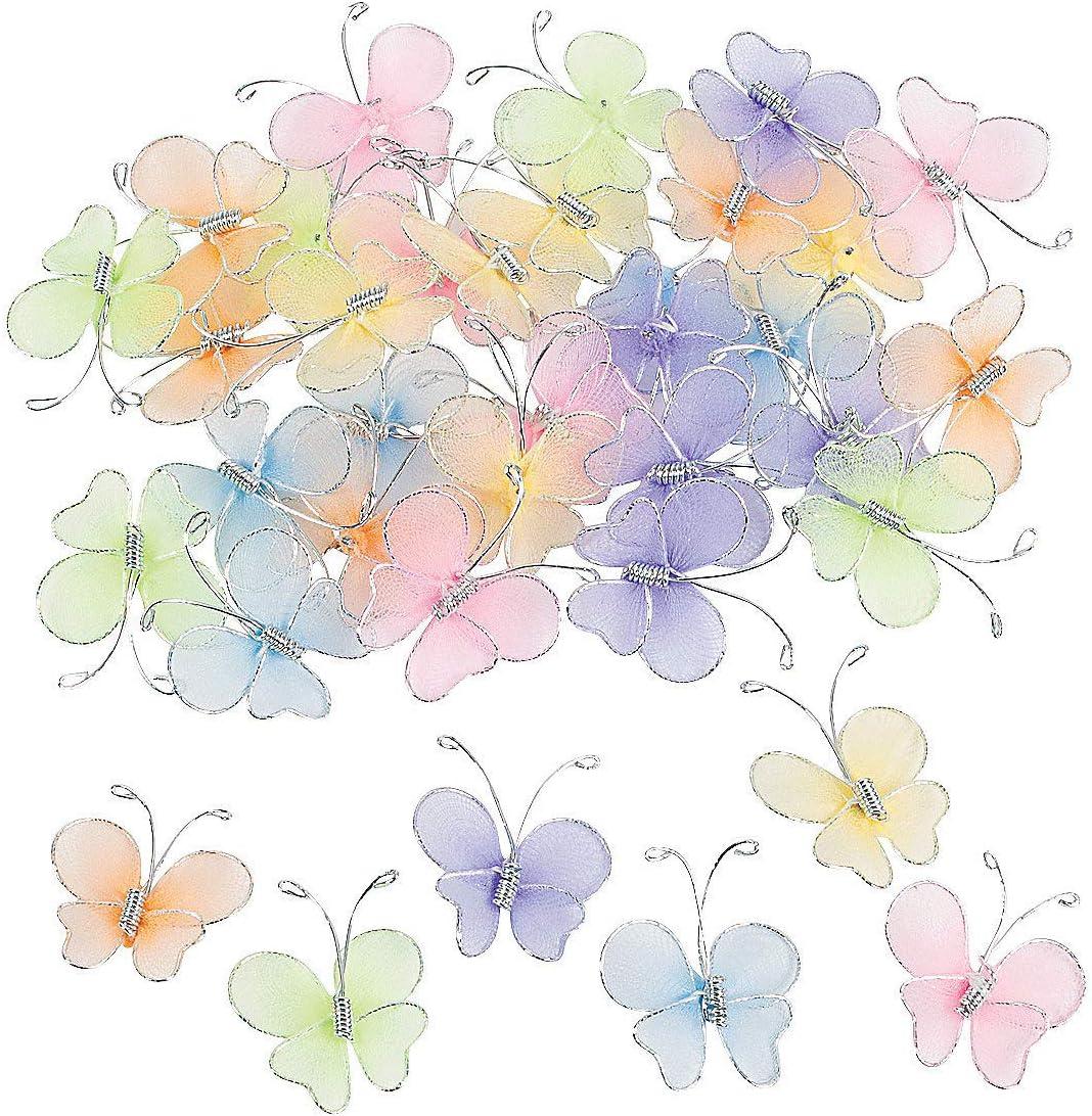 Fun Express Nylon Butterflies (Bulk Set of 36) Crafts and Scrap Booking Supplies
