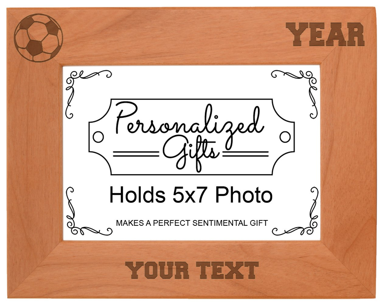 Custom Soccer Gift Add Text Year Personalized Natural Wood Engraved 5x7 Landscape Picture Frame