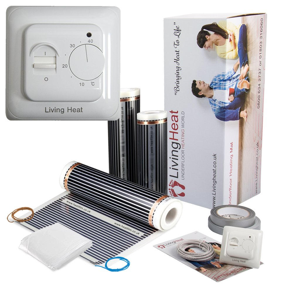 Underfloor Heating film Kit 1-24sqm All Sizes Available. 200w/m2 Electric Under Laminate & Wood Floors Heating with 15 Year Warranty And Next Day Delivery Living Heat