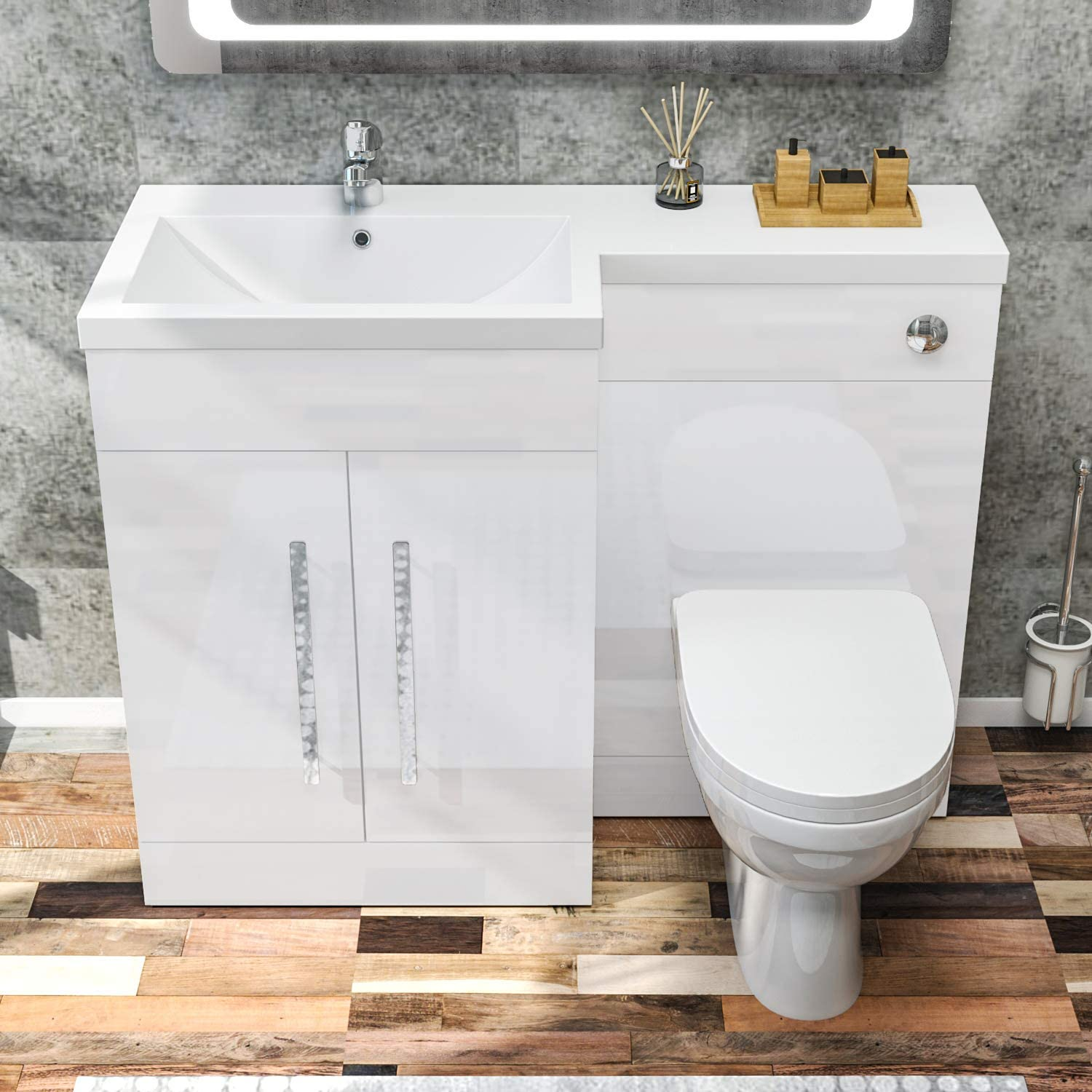 ELEGANT 1100mm L Shape Bathroom Vanity Sink Unit Furniture Storage,Left  Hand High Gloss White Vanity unit + Basin + Ceramic D shaped Toilet with  Concealed Cistern: Amazon.co.uk: Kitchen & Home