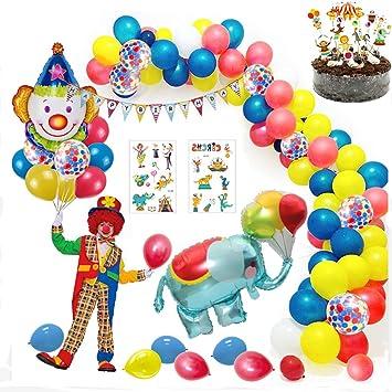 MMTX Carnaval Circo Decoración Fiesta cumpleaños Niño, Feliz cumpleaños Decoraciones Niña con Happy Birthday Banderas, Elefante Payaso Globo para ...