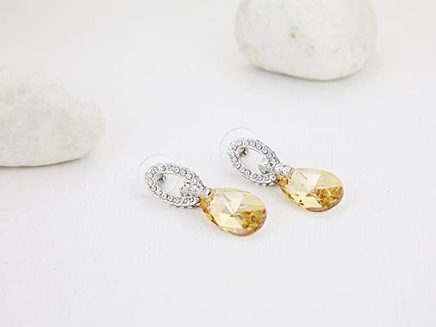 Swarovski Elements Golden Shadow Complimento Earrings Rhodium Plated - Ideal Gift for Women and Girls - Comes In Gift Box SES6xAKL