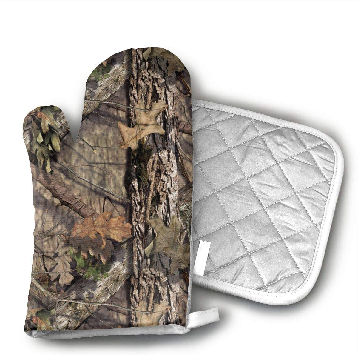 Wiqo9 Camo Tree Oven Mitts and Pot Holders Kitchen Mitten Cooking Gloves,Cooking, Baking, BBQ.
