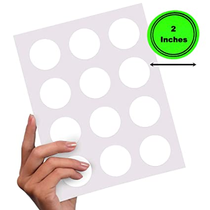 photograph relating to 2 Inch Circle Template Printable identified as 180 Labels, 2 Inch Spherical Labels Printable Labels (15 Sheets of 12 Rounds)  White Printable Sticker Paper for Printer Circle Template Sticker Labels