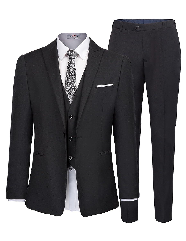 PAUL JONES Men's Slim Fit One Button 3-Piece Dress Suit Blazer Coat Tux Vest & Pants