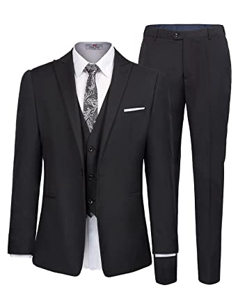 a033e5175466 Men's One Button 3 Piece Suit Blazer Jacket Tux Vest and Trousers Size S  Black