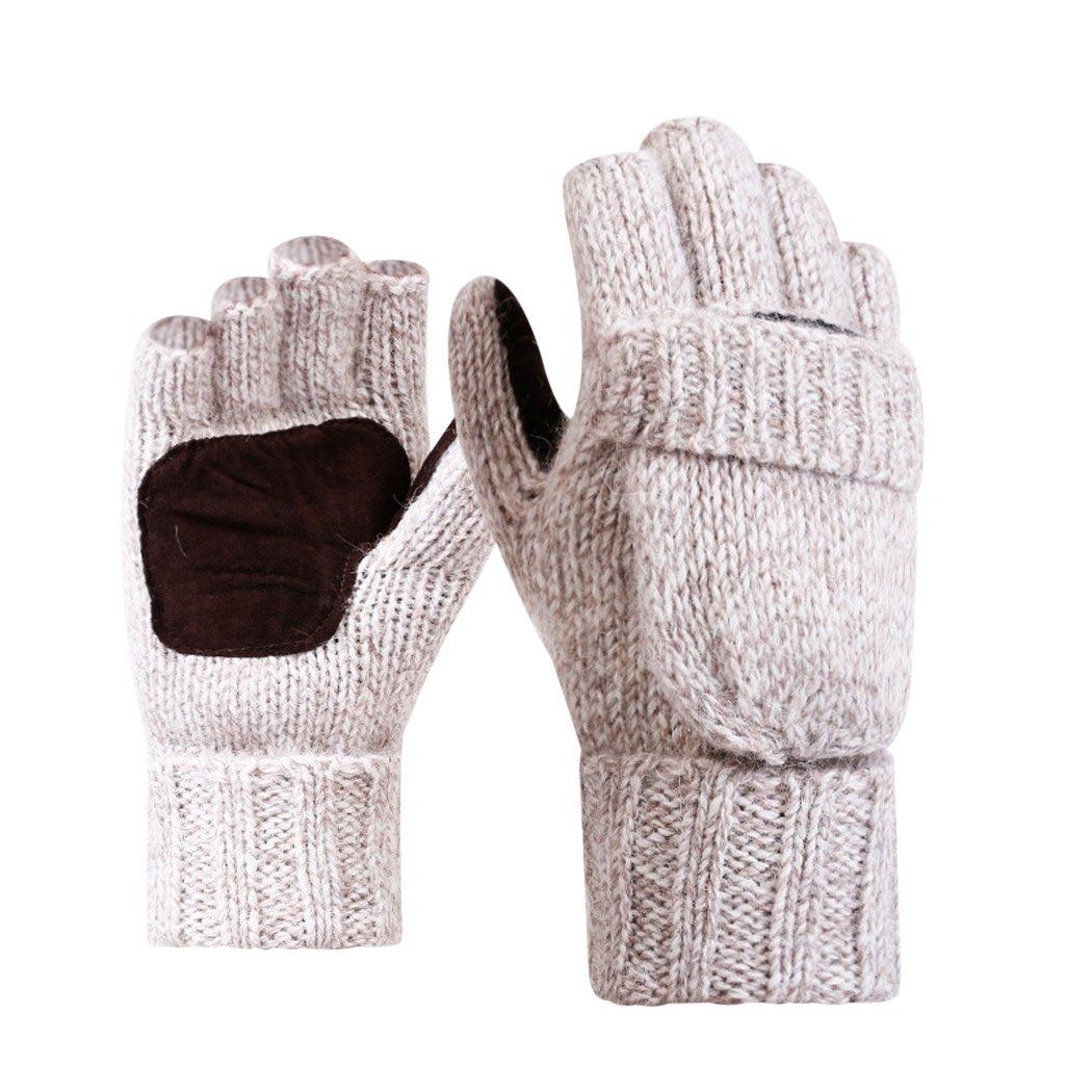 MIOIM Mens Woolen Fleece Knitted Glove Flip Top Cover Fingerless Sports Mittens S244266201